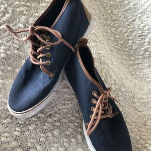 ASOS Blue Leather Laced Canvas  Shoes Men's US 6